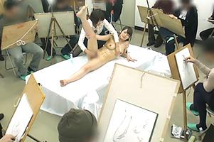 【保坂えり】美術モデルの仕事と聞かされていた巨乳お姉さんが男子部員たちの前で全裸を晒した結果www