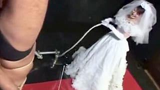 ウェディングドレス姿の女王様が男をムチで叩き続けるマニア動画