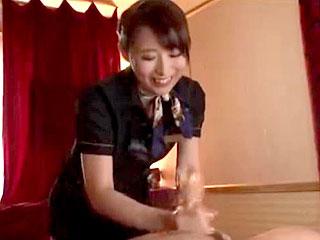 M性感風俗で美女が寸止め繰り返す手コキをするエロ動画