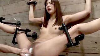 綺麗なお姉さんを全裸で拘束し磔にしてバイブ責めや中出しする調教動画