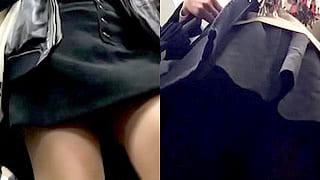 パンチラの盗撮でミニスカの素人お姉さんを狙ったエロ動画