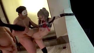 コスプレ巨乳美少女と集団撮影会で乱交プレイするエロ動画