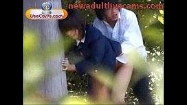 お外でエッチする高校生バカップルを望遠カメラで盗撮したJK野外SEXエロ動画
